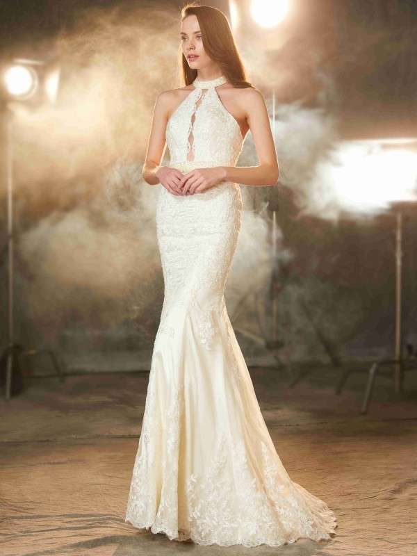 Sheath/Column Sleeveless Jewel Floor-Length Applique Lace Dresses