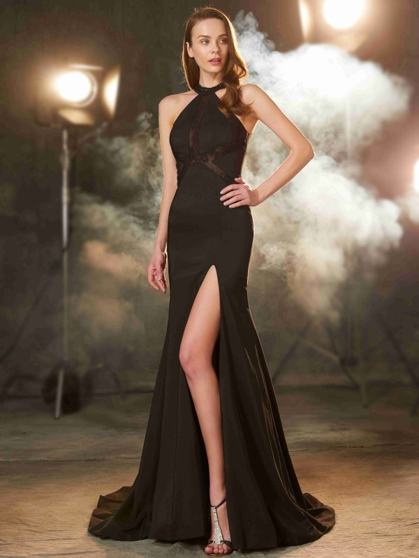 Sheath/Column Sleeveless Sweep/Brush Train Jewel Beading Elastic Woven Satin Dresses