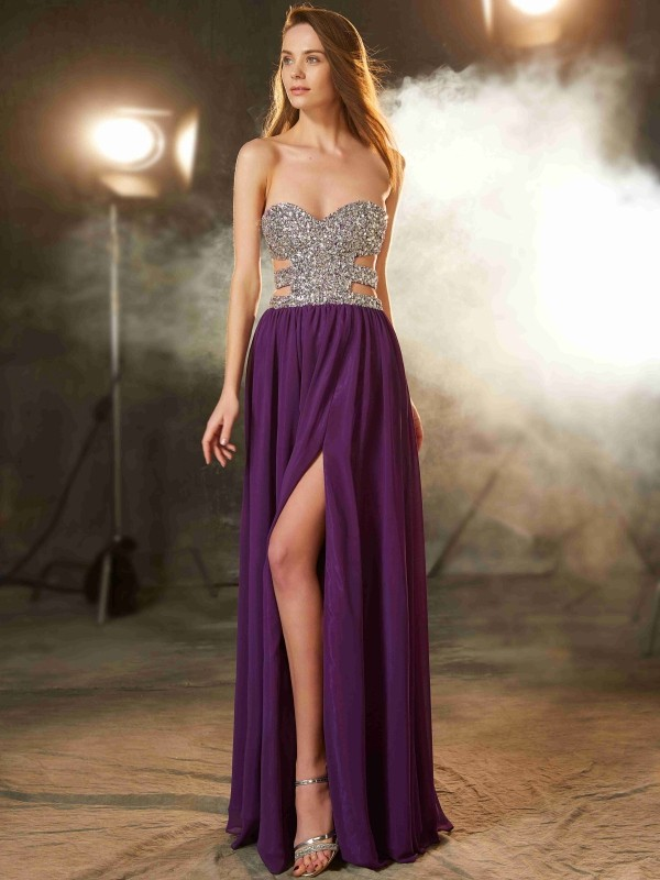 Sweetheart A-Line/Princess Crystal Sleeveless Floor-Length Chiffon Dresses