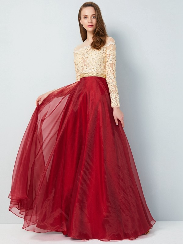 A-Line/Princess Floor-Length Long Sleeves Sheer Neck Applique Organza Dresses