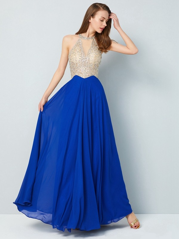 A-Line/Princess Sleeveless Floor-Length Scoop Crystal Chiffon Dresses