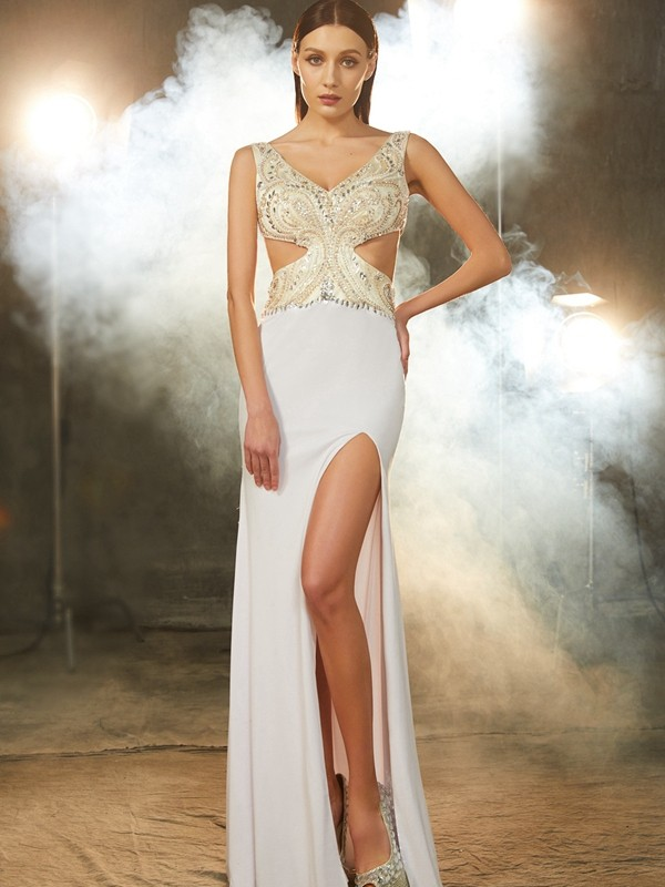 Sheath/Column V-neck Beading Sleeveless Floor-Length Spandex Dresses