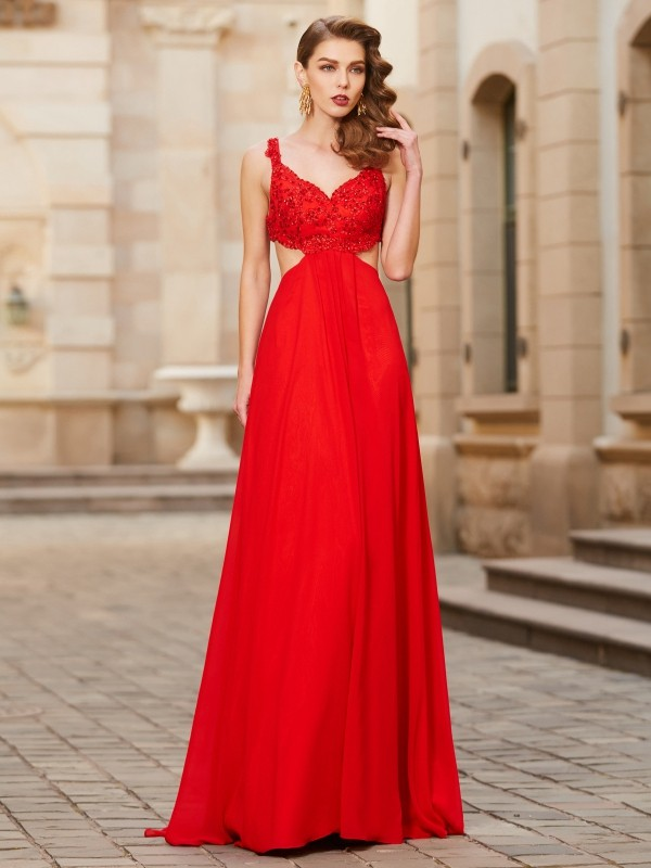 A-Line/Princess Sleeveless Straps Floor-Length Applique Chiffon Dresses