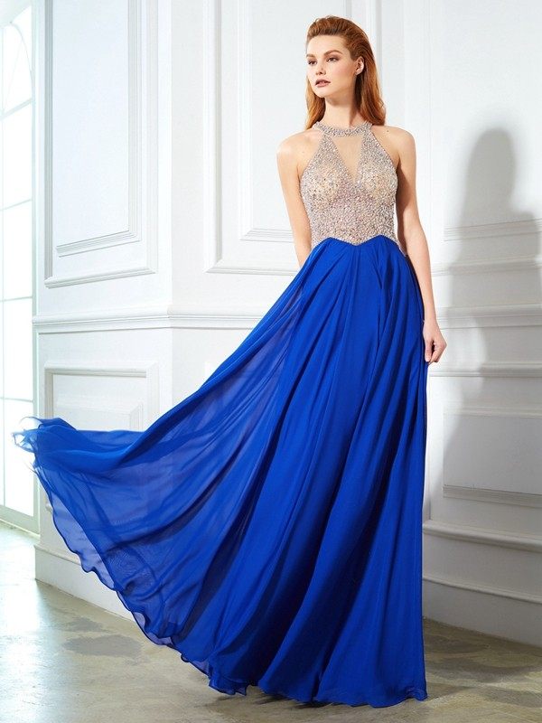 A-Line/Princess Floor-Length Scoop Sleeveless Crystal Chiffon Dresses