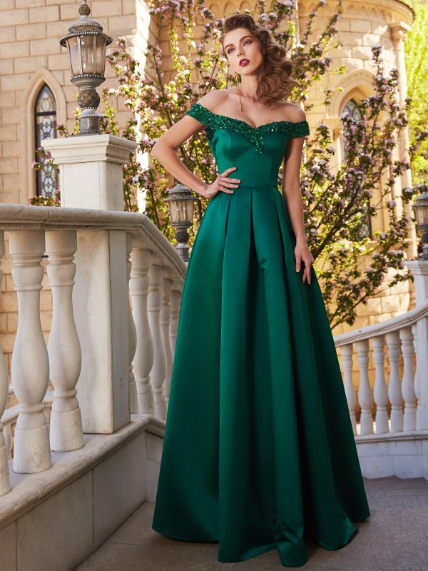 A-Line/Princess Off-the-Shoulder Floor-Length Sequin Sleeveless Satin Dresses