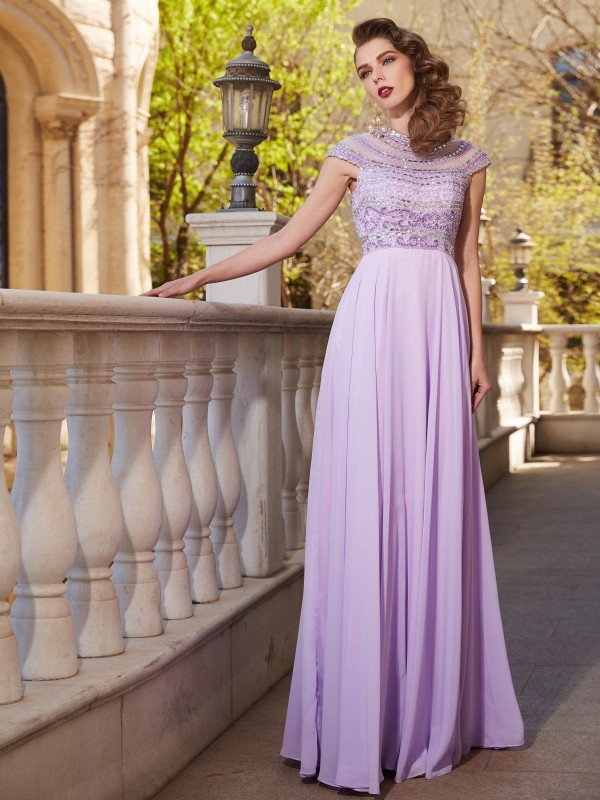 A-Line/Princess Floor-Length Scoop Short Sleeves Beading Chiffon Dresses