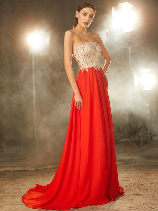 A-Line/Princess Strapless Sleeveless Chiffon Beading Sweep/Brush Train Dresses