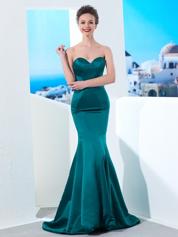 Sweetheart Trumpet/Mermaid Sleeveless Ruched Sweep/Brush Train Satin Dresses