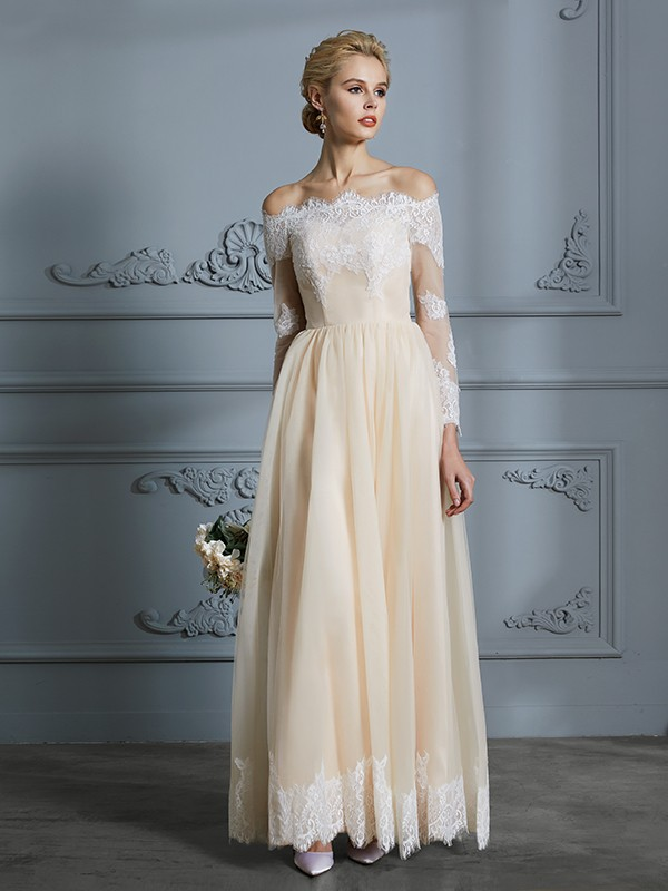 A-Line/Princess Long Sleeves Off-the-Shoulder Floor-Length Lace Tulle Wedding Dresses