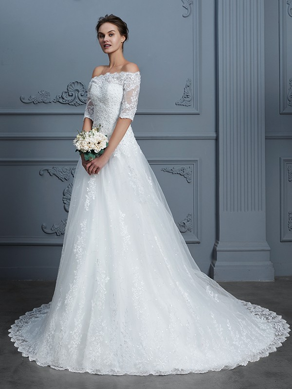 Ball Gown Off-the-Shoulder 1/2 Sleeves Court Train Lace Beading Wedding Dresses
