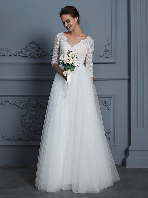 A-Line/Princess V-neck 3/4 Sleeves Floor-Length Lace Tulle Wedding Dresses