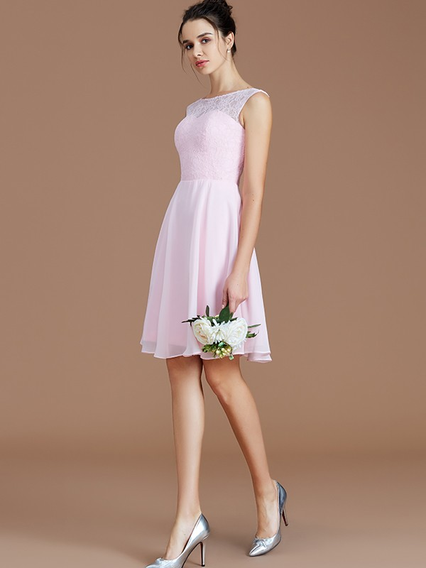 A-Line/Princess Bateau Sleeveless Lace Short/Mini Chiffon Bridesmaid Dresses