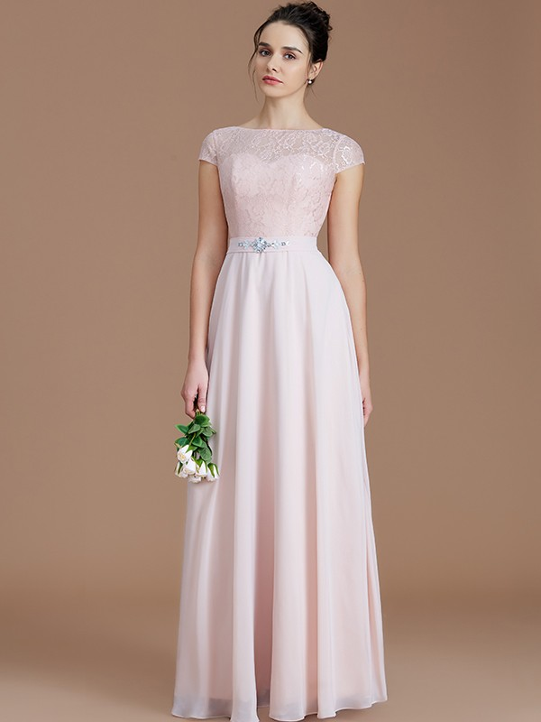 A-Line/Princess Bateau Sleeveless Lace Floor-Length Chiffon Bridesmaid Dresses