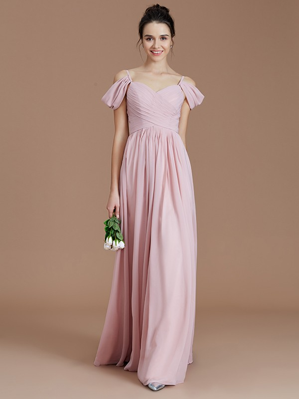 A-Line/Princess Off-the-Shoulder Sleeveless Ruched Floor-Length Chiffon Bridesmaid Dresses