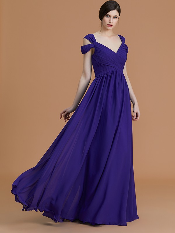 A-Line/Princess Off-the-Shoulder Floor-Length Sleeveless Ruched Chiffon Bridesmaid Dresses