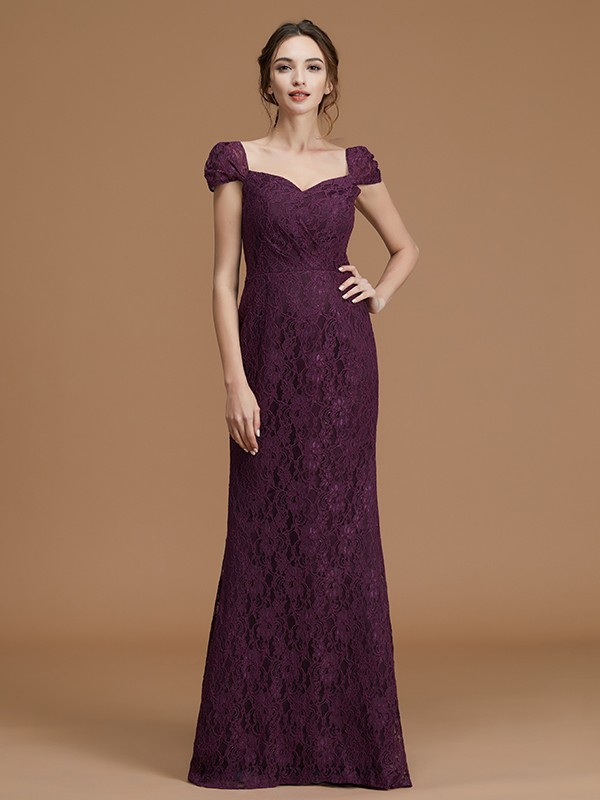 Sheath/Column Sweetheart Satin Short Sleeves Floor-Length Lace Bridesmaid Dresses