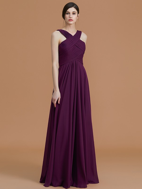 A-Line/Princess Sleeveless Floor-Length Ruched Chiffon Halter Bridesmaid Dresses
