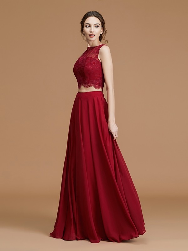 A-Line/Princess Bateau Sleeveless Floor-Length Chiffon Lace Bridesmaid Dresses
