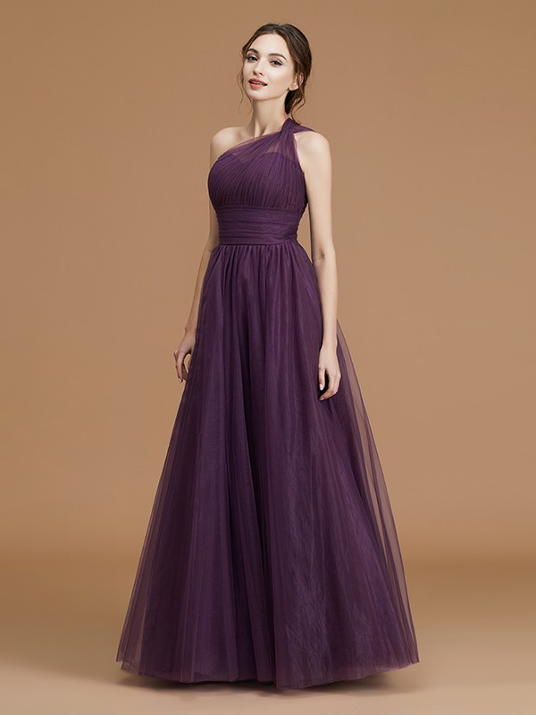A-Line/Princess One-Shoulder Floor-Length Sleeveless Ruched Tulle Bridesmaid Dresses