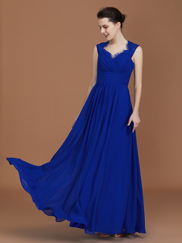 A-Line/Princess Sweetheart Sleeveless Floor-Length Ruffles Chiffon Bridesmaid Dresses