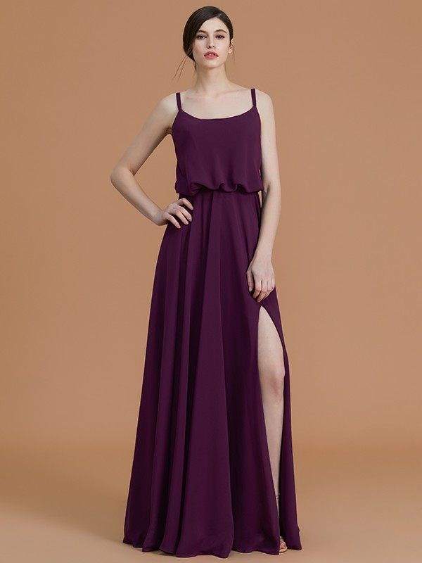 A-Line/Princess Sleeveless Spaghetti Straps Floor-Length Chiffon Ruffles Bridesmaid Dresses