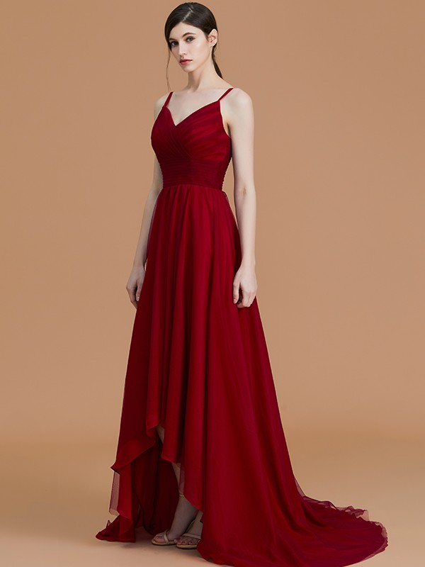 A-Line/Princess Spaghetti Straps Sleeveless Asymmetrical Ruffles Chiffon Bridesmaid Dresses