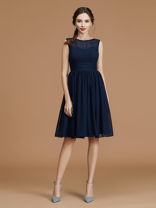 A-Line/Princess Bateau Sleeveless Chiffon Short/Mini Ruffles Bridesmaid Dresses