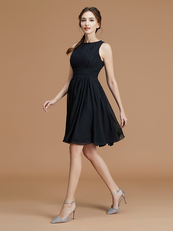 A-Line/Princess Sleeveless Bateau Short/Mini Ruffles Chiffon Bridesmaid Dresses