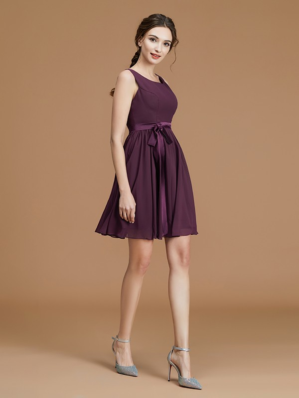 A-Line/Princess Bateau Sleeveless Chiffon Sash/Ribbon/Belt Short/Mini Bridesmaid Dresses