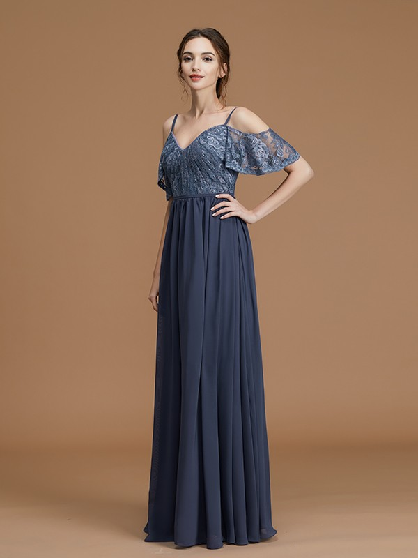 A-Line/Princess Spaghetti Straps Sleeveless Lace Chiffon Floor-Length Bridesmaid Dresses
