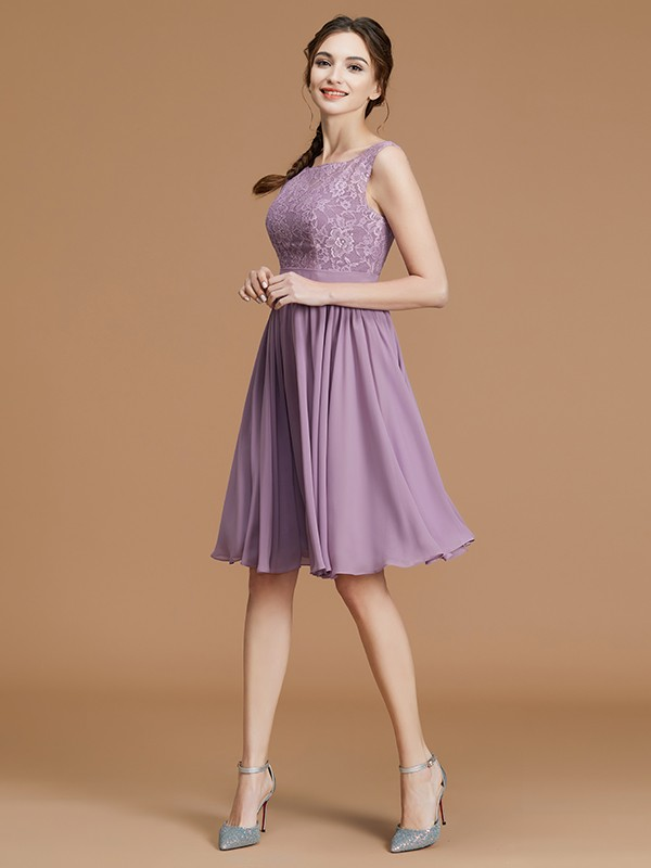 A-Line/Princess Bateau Sleeveless Lace Chiffon Short/Mini Bridesmaid Dresses