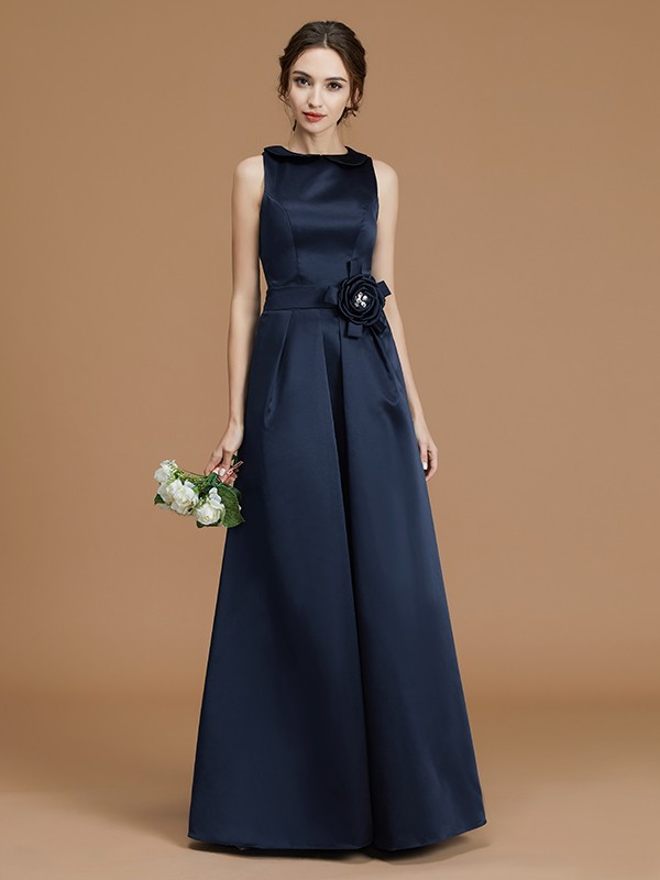 A-Line/Princess Sleeveless Bateau Floor-Length Hand-Made Flower Satin Bridesmaid Dresses