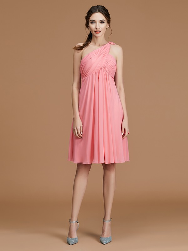 A-Line/Princess One-Shoulder Sleeveless Ruched Chiffon Short/Mini Bridesmaid Dresses
