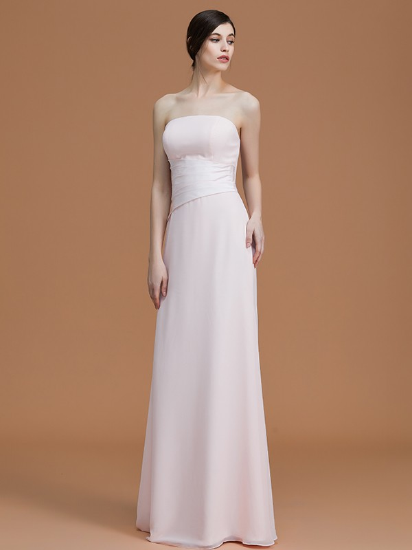 A-Line/Princess Strapless Sleeveless Floor-Length Ruched Chiffon Bridesmaid Dresses
