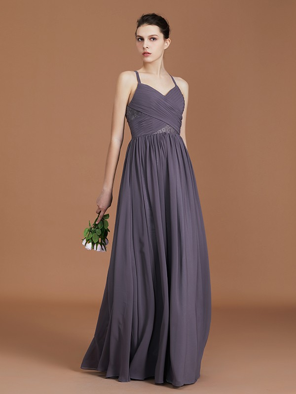 A-Line/Princess Spaghetti Straps Sleeveless Floor-Length Lace Chiffon Bridesmaid Dress