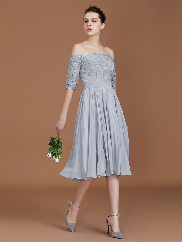 A-Line/Princess Off-the-Shoulder Short Sleeves Tea-Length Lace Chiffon Bridesmaid Dress