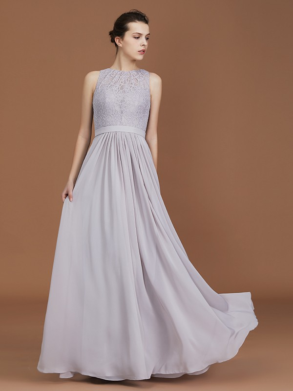 A-Line/Princess Scoop Lace Floor-Length Chiffon Ruched Bridesmaid Dress