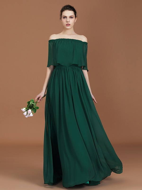 A-Line/Princess Off-the-Shoulder Pleats Floor-Length Chiffon Bridesmaid Dress