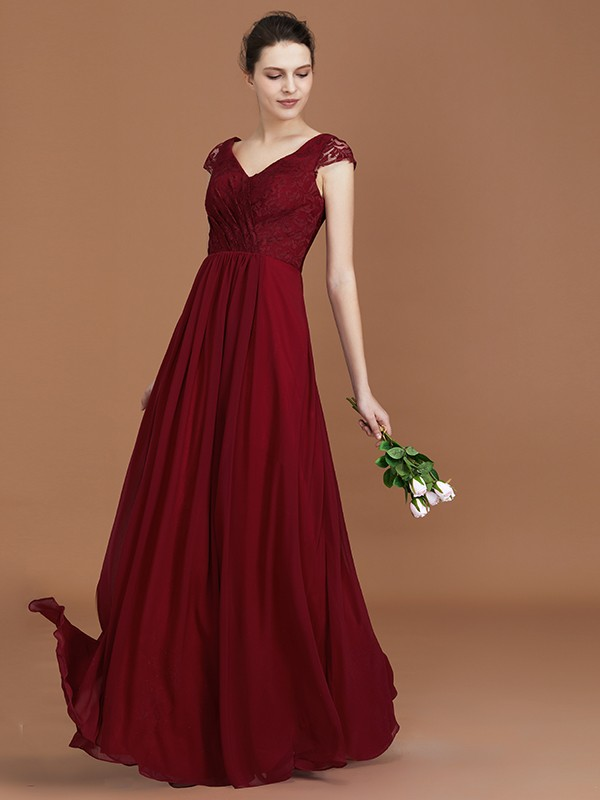 A-Line/Princess V-neck Short Sleeves Chiffon Ruched Floor-Length Lace Bridesmaid Dresses