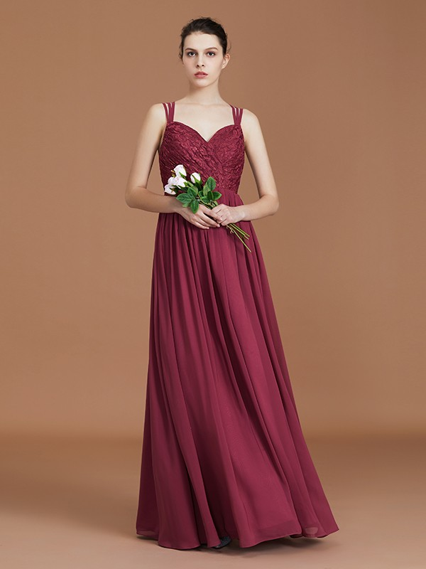 A-Line/Princess Sweetheart Chiffon Ruched Floor-Length Lace Bridesmaid Dresses
