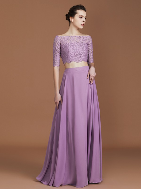 A-Line/Princess Off-the-Shoulder 1/2 Sleeves Floor-Length Lace Chiffon Bridesmaid Dress