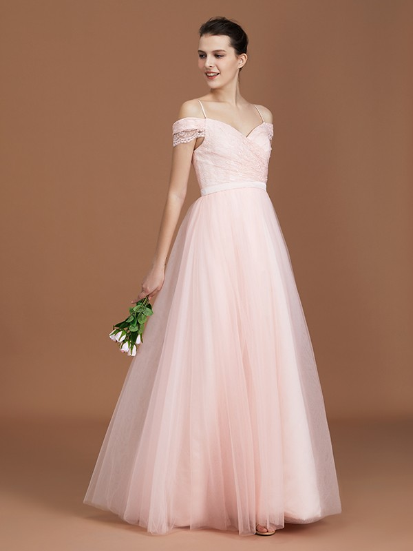 A-Line/Princess Short Sleeves Sweetheart Spaghetti Straps Ruched Floor-Length Lace Tulle Bridesmaid Dresses