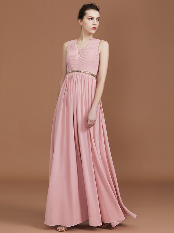 A-Line/Princess V-neck Sleeveless Floor-Length Chiffon Ruched Lace Bridesmaid Dresses