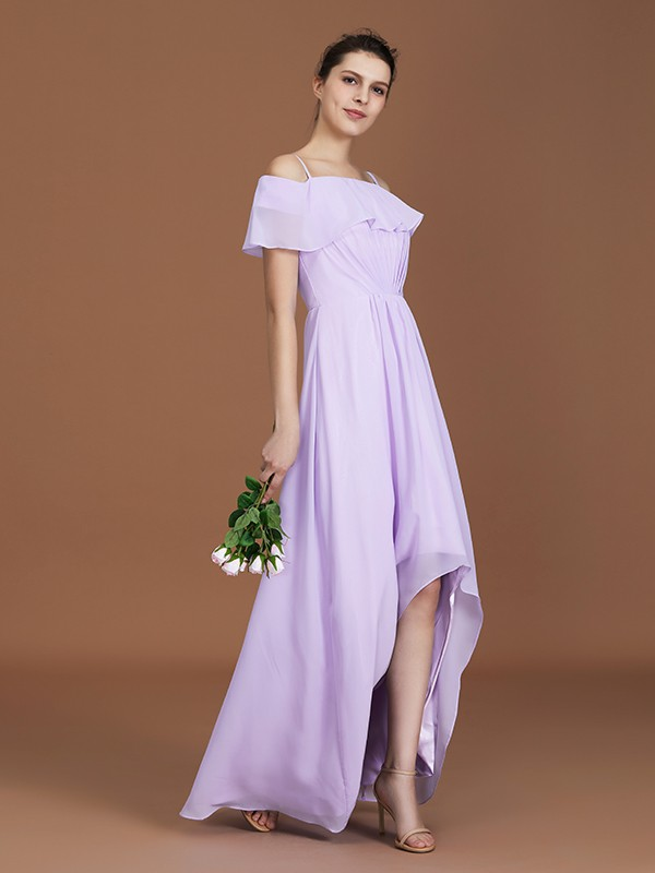 A-Line/Princess Short Sleeves Off-the-Shoulder Ruched Chiffon Asymmetrical Bridesmaid Dresses