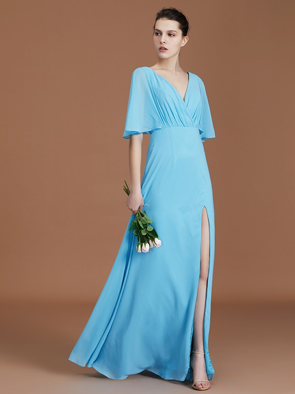A-Line/Princess V-neck 1/2 Sleeves Chiffon Floor-Length Bridesmaid Dresses