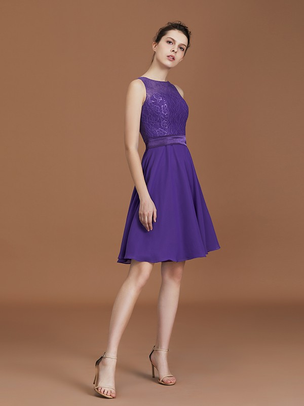 A-Line/Princess Sleeveless Bateau Lace Knee-Length Chiffon Bridesmaid Dresses