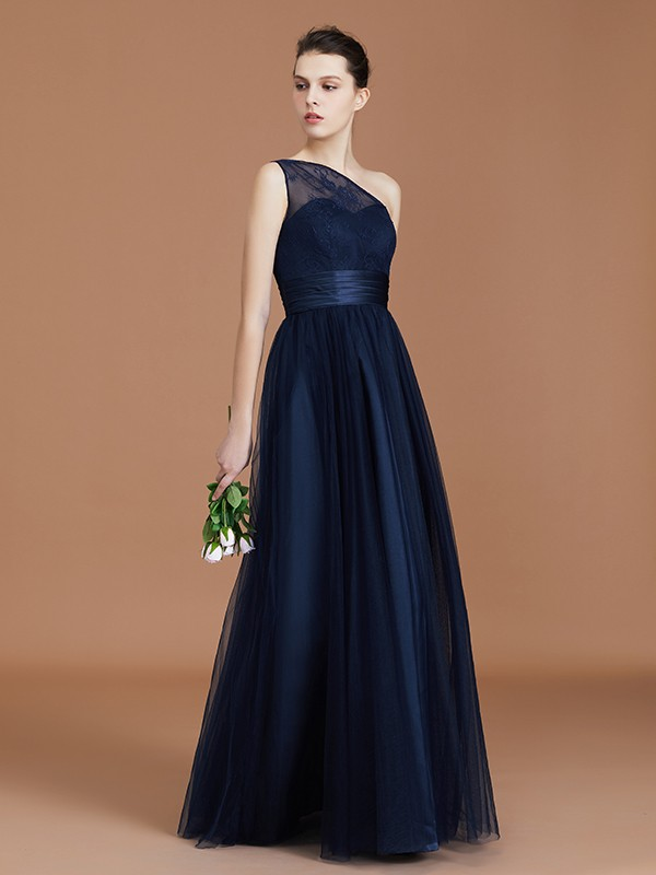 A-line/Princess One-Shoulder Tulle Sleeveless Floor-Length Lace Bridesmaid Dresses