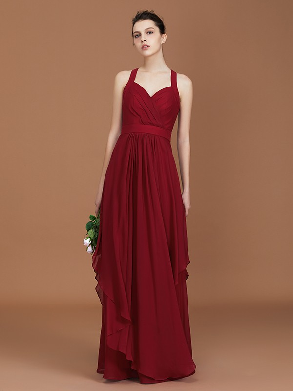 A-Line/Princess Straps Chiffon Ruched Floor-Length Sleeveless Bridesmaid Dresses