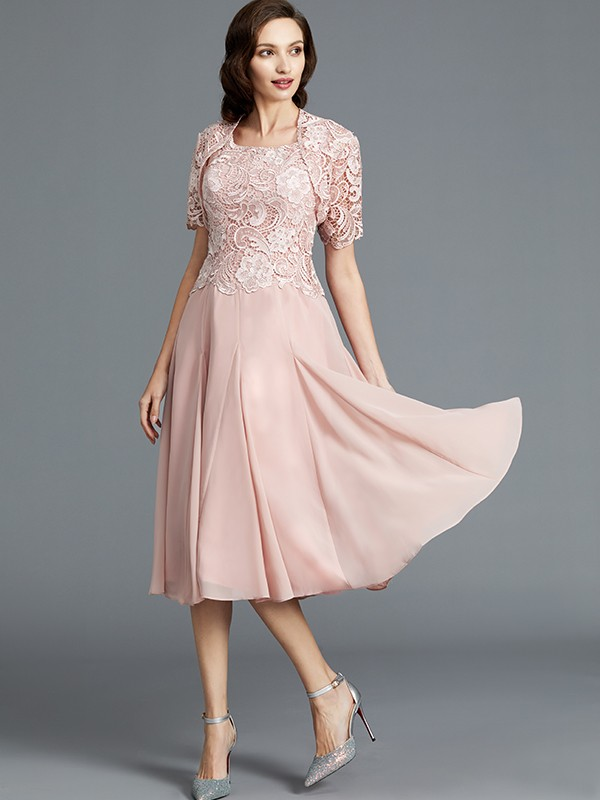 A-Line/Princess Sleeveless Scoop Tea-Length Chiffon Mother of the Bride Dresses