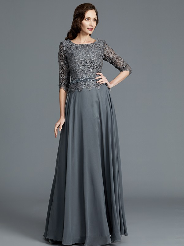 A-Line/Princess Scoop 1/2 Sleeves Chiffon Floor-Length Mother of the Bride Dresses